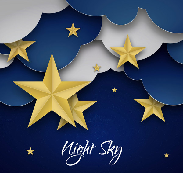Clouds and stars clip art Vector AI