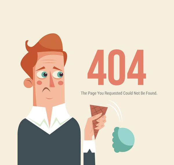 Drop Ice cream 404 error page Vector AI