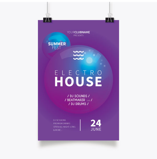 Electronic Theme Party Poster vector