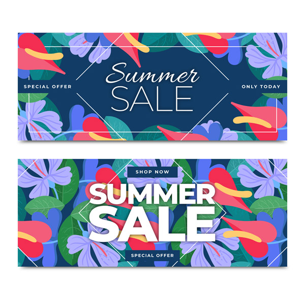 Flower Sales Banner Vector AI 01
