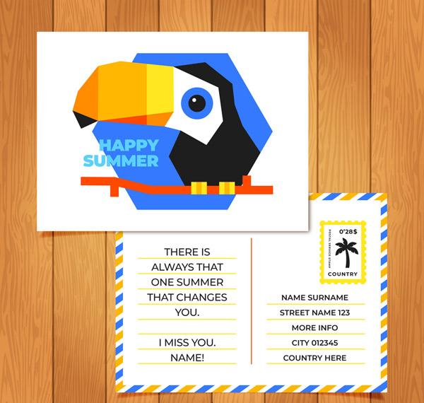 Giant Beak Bird Summer postcard Vector AI