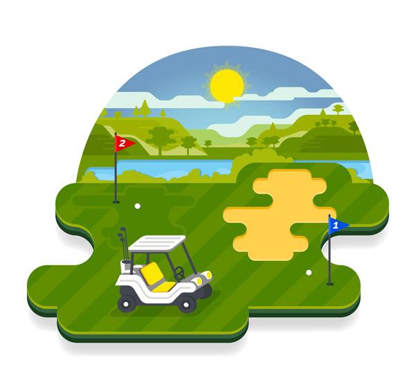 Golf Course Scenery Vector AI