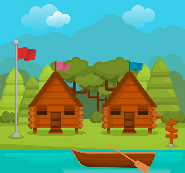 Holiday Chalet View Vector AI