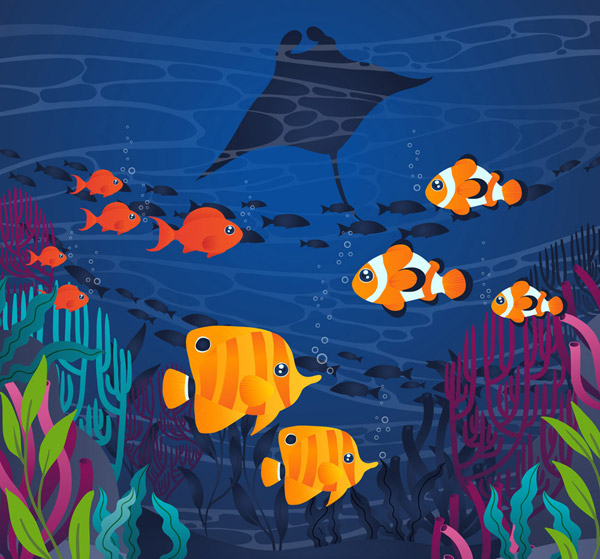 Landscape of undersea Tropical Fish Group Vector AI