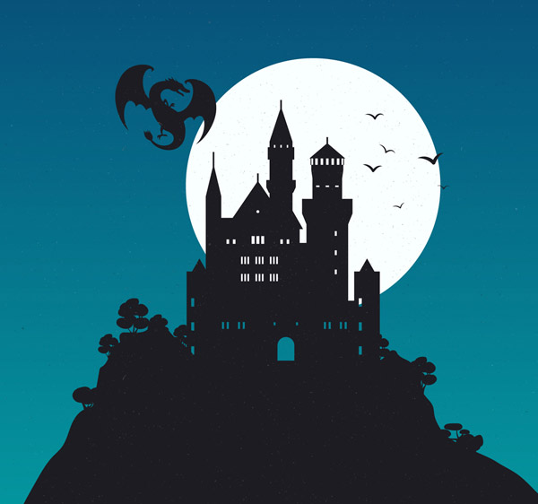 Moonlight Castle and Dragon Silhouette Vector AI