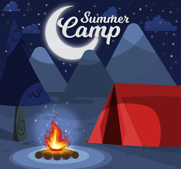 Night Camping Red Tent Vector AI
