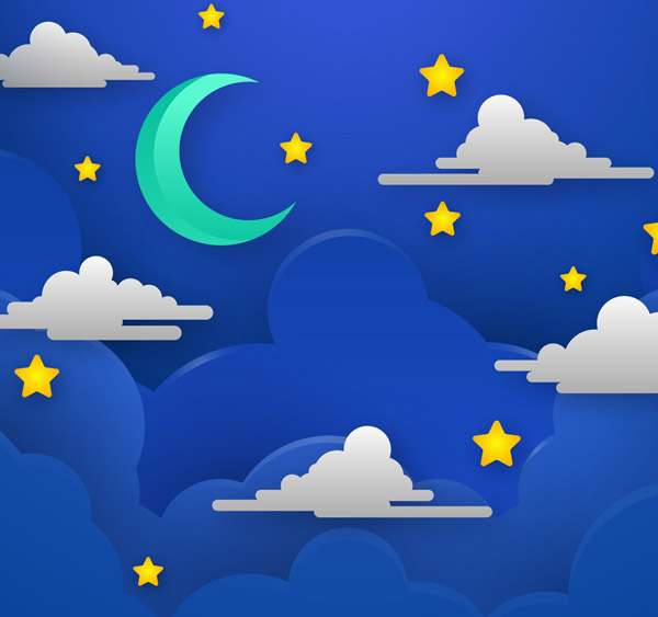 Night sky Moon and clouds Vector AI