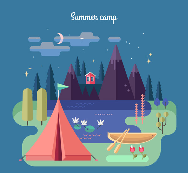 Summer Camping Natural Landscape Vector AI