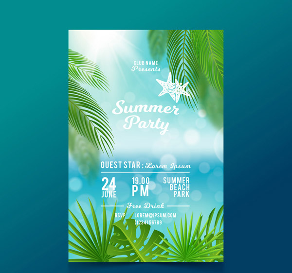 Summer Party Flyer Vector AI 01
