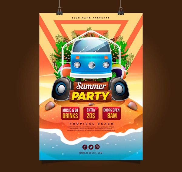 Summer Party Flyer Vector AI