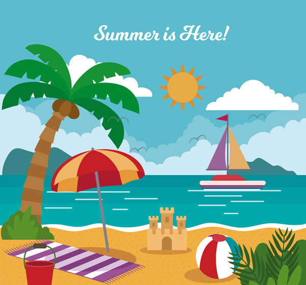 Summer Resort Beach View Vector AI
