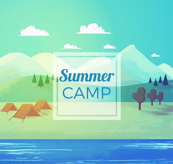 Summer Riverside Camping Landscape Vector AI