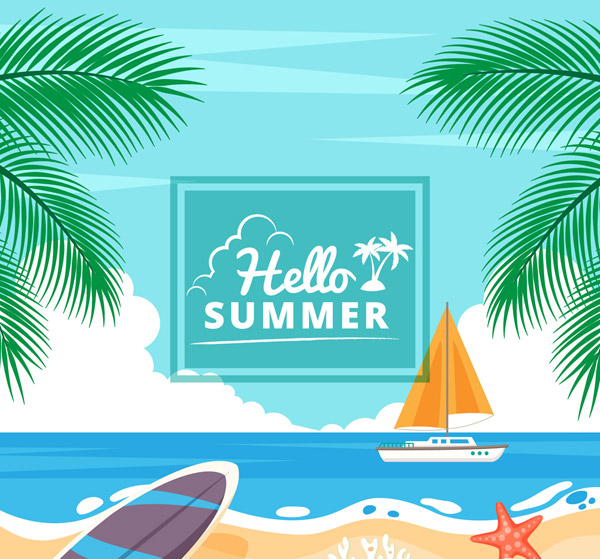 Summer Sea Beach View Vector AI