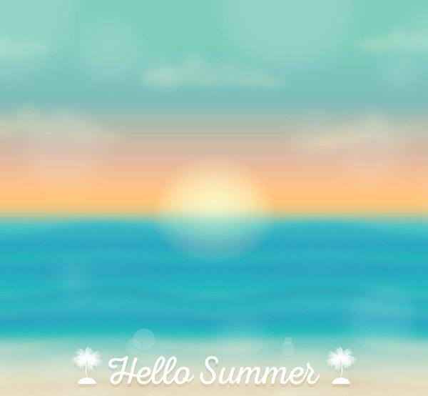 Summer Sea Sunrise Landscape Vector AI
