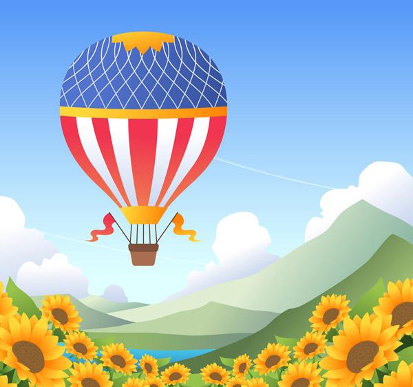 Sunflower Hot air balloon at sea Vector AI