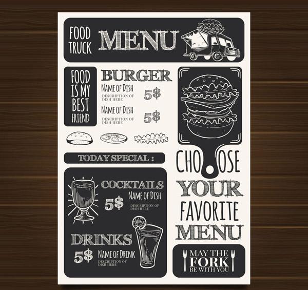 Takeaway fast food Car menu Vector AI