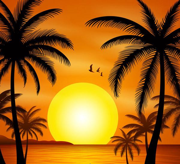 The sea beach under the sunset Vector AI
