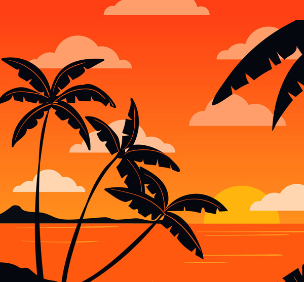 The silhouette of coconut trees in the sunset Vector AI