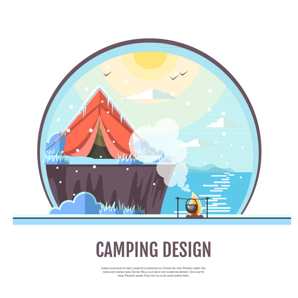 Camping Tent on Seaside Reef Vector EPS