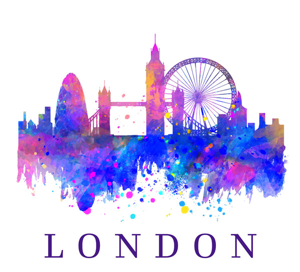 Water Painted London building Silhouette Vector AI