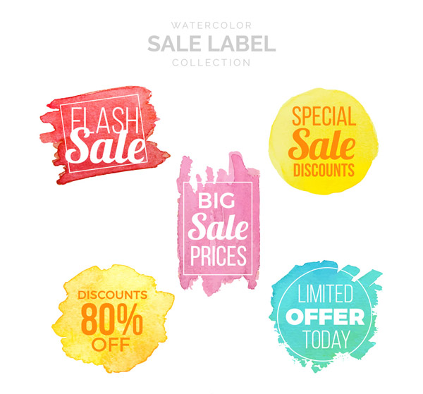 Water Painting Sales Label Vector AI