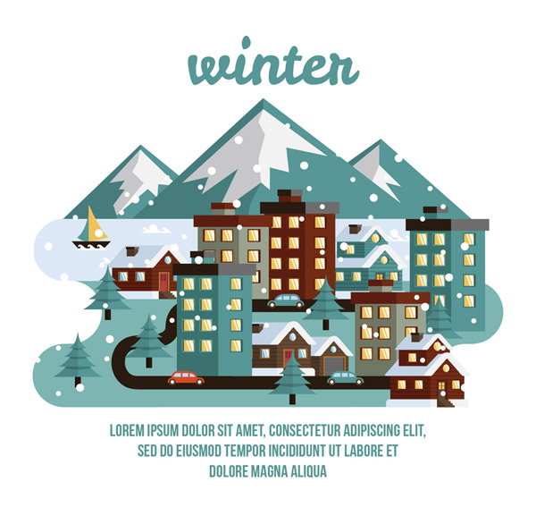 Winter small town buildings and roads Vector AI