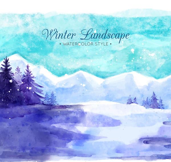 Winter Suburb Scenery Vector AI